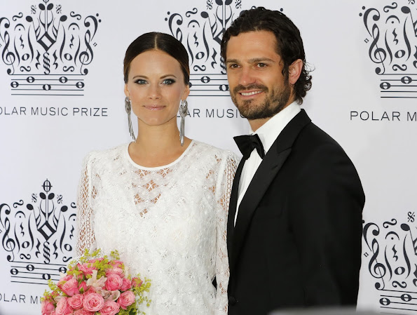 Queen Silvia, Crown Princess Victoria and Prince Daniel, Prince Carl Philip and Princess Sofia of Sweden attend Polar Music Prize 2016. Princess Victoria wore Ralph Lauren Dora V-Back Gown