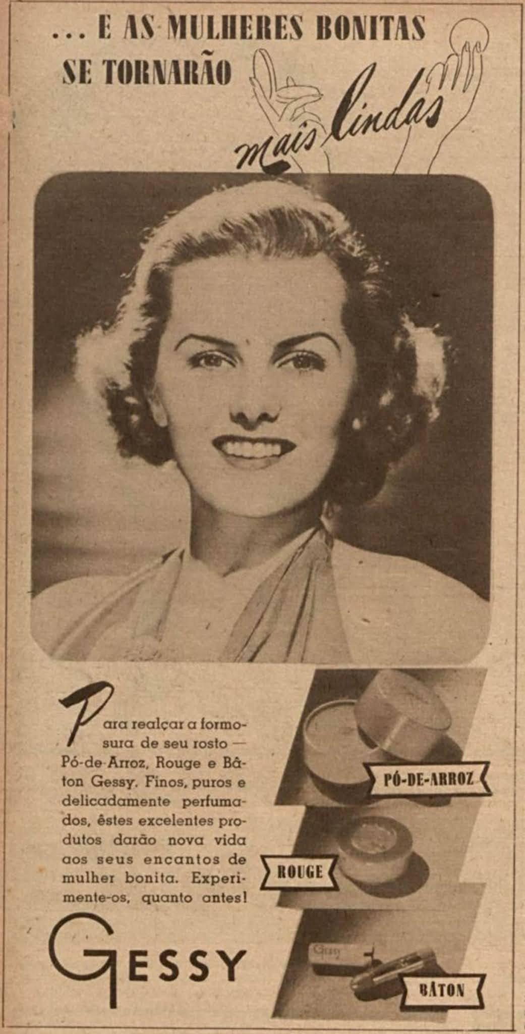 Propaganda antiga da linha de maquiagens da Gessy em 1940