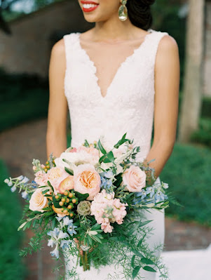 peach green and blue bridal bouquet