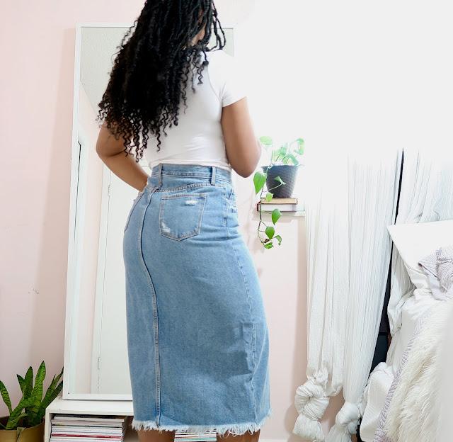 Midi Jean Skirt