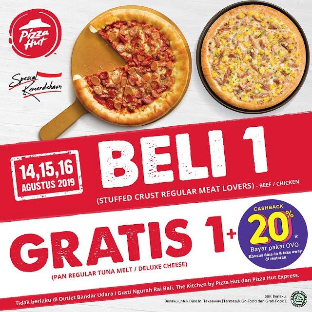 #PizzaHut - #Promo Kemerdekaan Beli 1 Gratis 1 + Cashback 20% Pakai OVO (14 - 16 Agustus 2019)