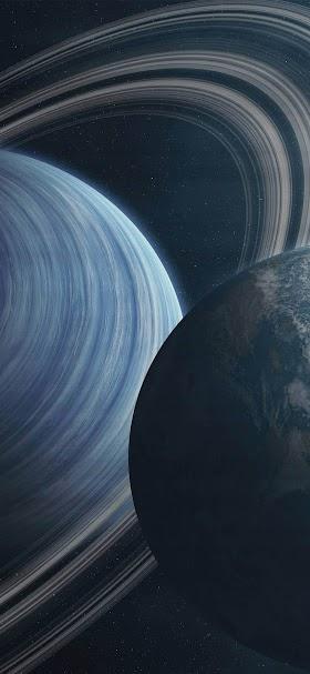 خلفية كوكب المشتري بجوار كوكب الأرض