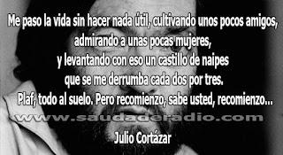 """""""Me paso la vida sin hacer nada útil, cultivando unos pocos amigos, admirando a unas pocas mujeres, y levantando con eso un castillo de naipes que se me derrumba cada dos por tres. Plaf, todo al suelo. Pero recomienzo, sabe usted, recomienzo..."""" Julio Cortázar - Los premios"""