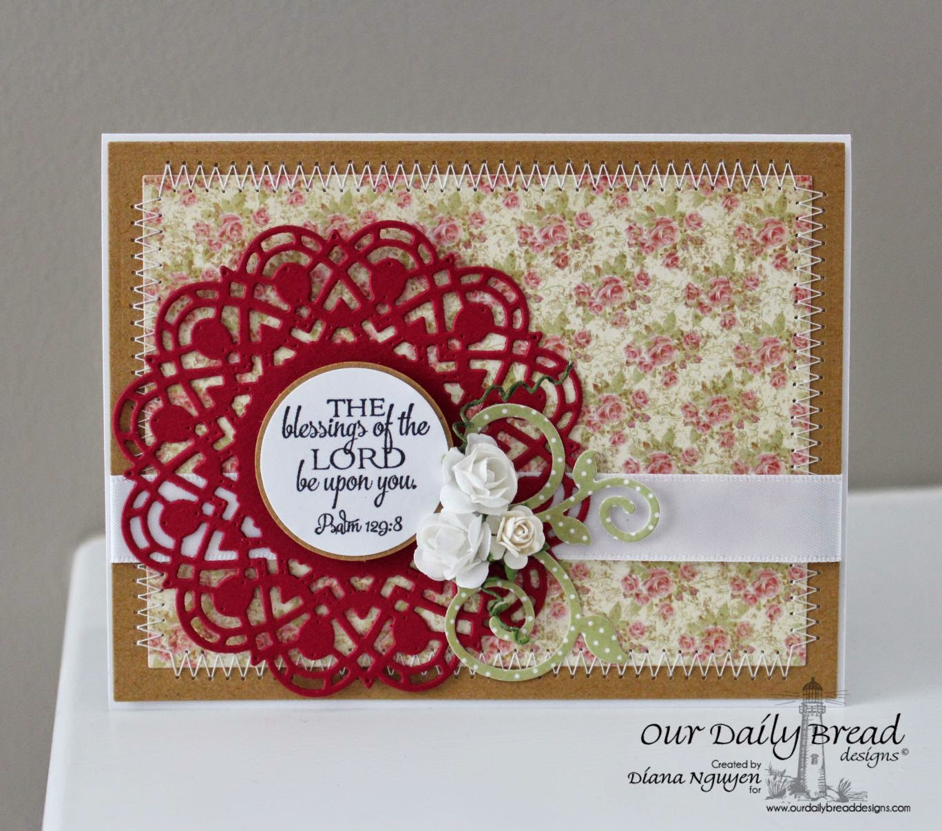 Our Daily Bread Designs, Blushing Rose Paper Collection, Fancy Foliage Dies, Doily Blessings, Doily, Designed by Diana Nguyen