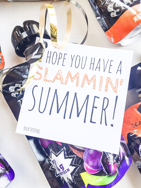 Have a Slammin' Summer Printable and gift idea for end of year party gifts. Great end of school year treat! (Free printable!)