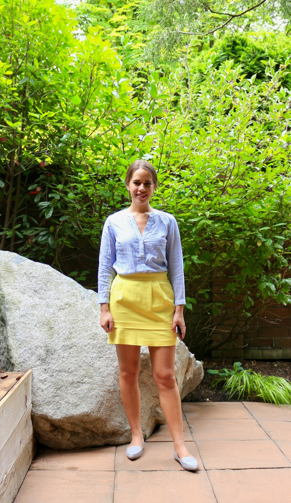 Jules in Flats - Yellow Mini Skirt with Striped Button Up (Business Casual Spring Workwear on a Budget)