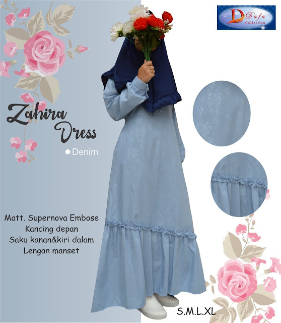 Gamis zahira dress baloteli warna drak denim kancing depan