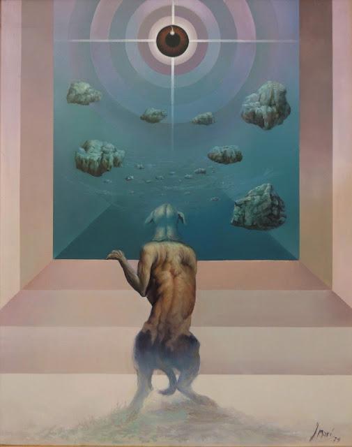 José Marí pintura surrealista arte infinito perro