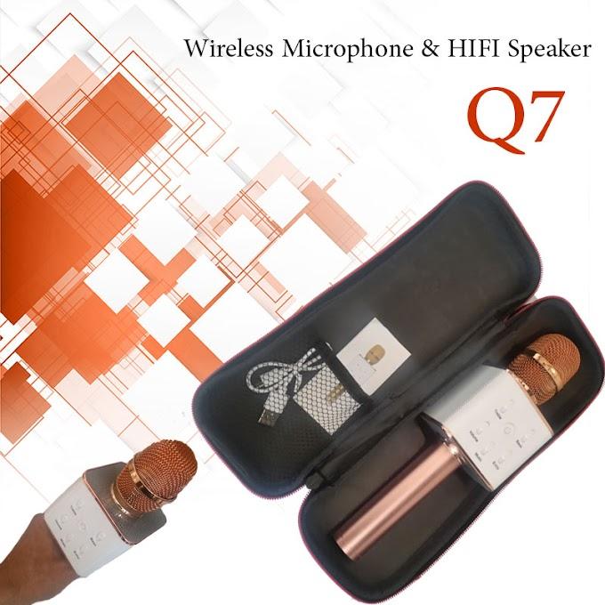 كيو7 ميكروفون كاريوكي لاسلكي مع بلوتوث لاجهزة الهواتف الذكية