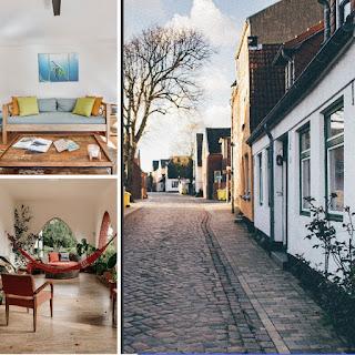 foto de rua com casas residenciais e de duas salas de estar