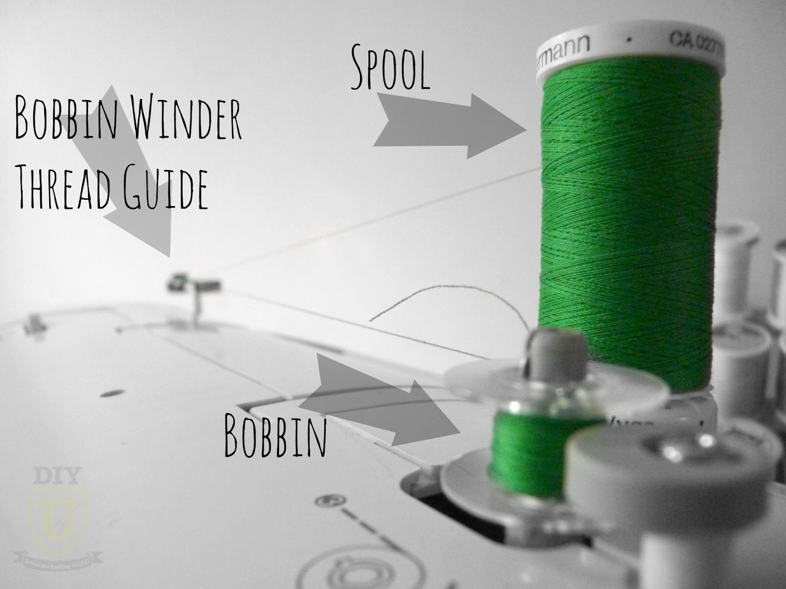 Diyu How To Thread Your Sewing Machine Threading Diagram Pinterest 1 Wind The Bobbin