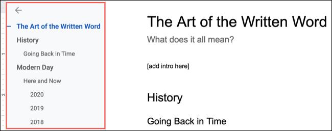 مخطط المستند في محرر مستندات Google