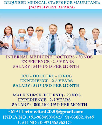 REQUIRED MEDICAL STAFFS FOR MAURITANIA (NORTHWEST AFRICA)
