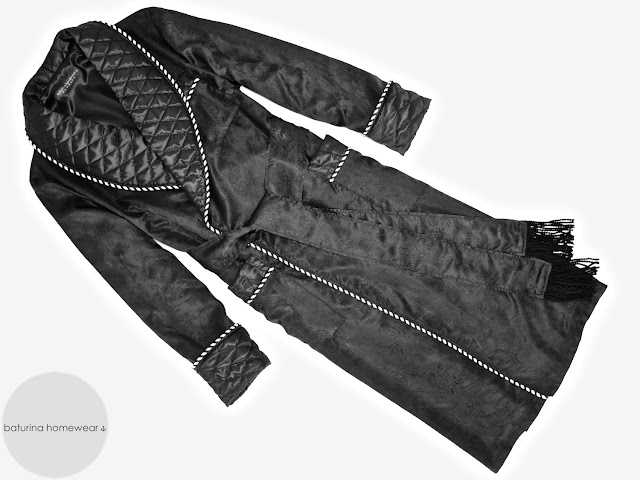 mens black paisley silk dressing gown quilted robe smoking jacket