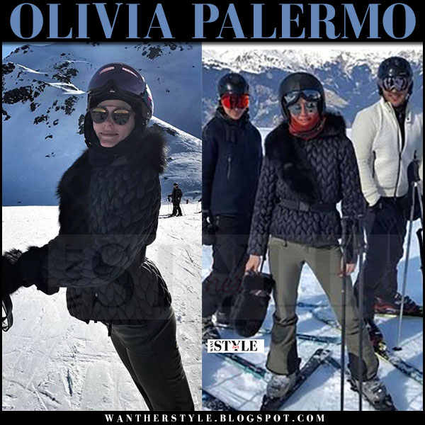 Olivia Palermo in black quilted moncler jacket and mirrored dior sunglasses skiing in France what she wore