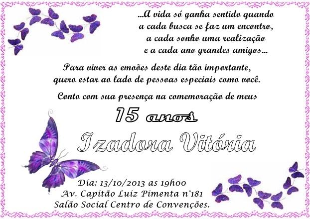 Frases De Aniversario De 17 Anos: Meu Convite E Legal: 15 Anos