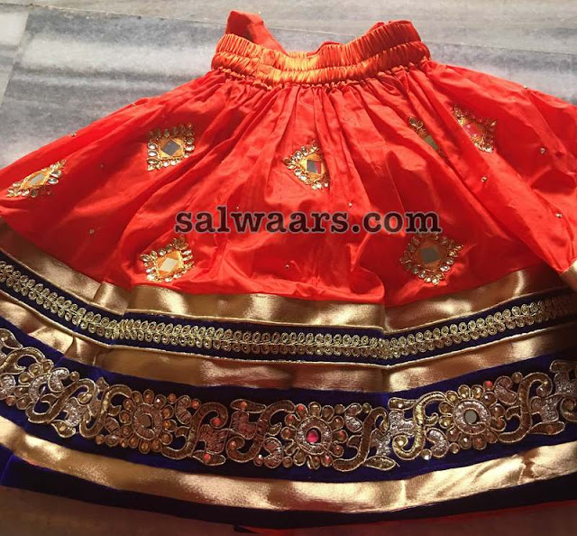 Orange Silk Lehenga High Neck Blouse