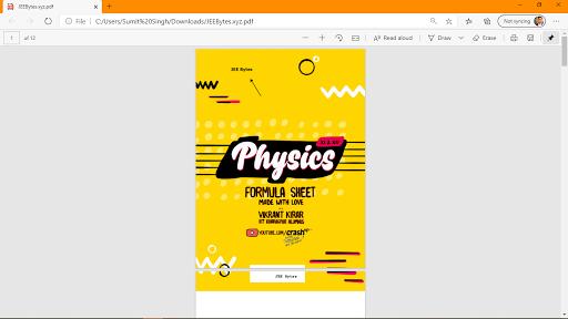 [PDF] CrashUp Physics Formula Sheet  JEE Bytes