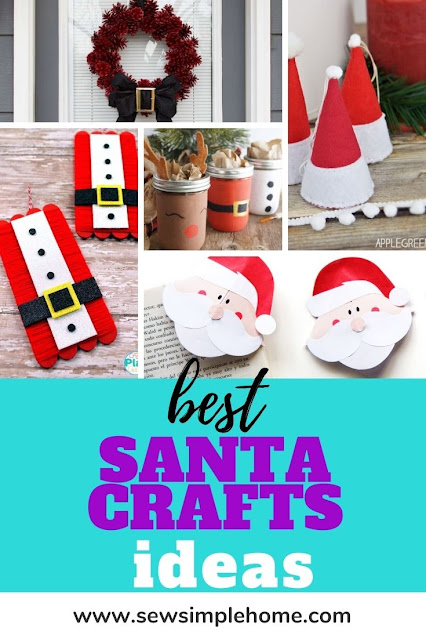 Great list of over 50 fun Santa crafts for kids and adults.