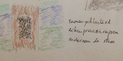 Eikenprocessierupsen samengeklonterd op boomstam tekening en haiku