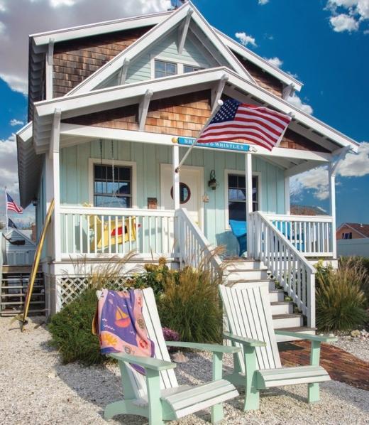 Coastal Cottage Exterior Blue Color Paint Shingles