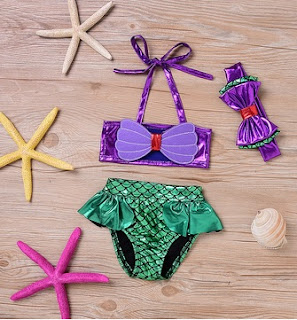 3Pcs Mermaid Cosplay Girls Swimsuit Bath Suit