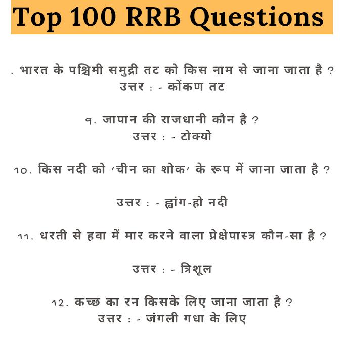 100 सामान्य ज्ञान के प्रश्न  हिंदी में / 100 Gk Questins in Hindi Set  For Competiive Exams