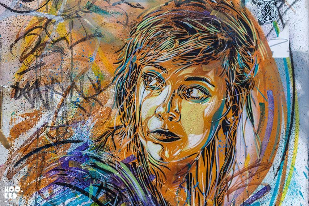 Hookedblog's Brick Lane Street Art Tour - C215 Stencil Portrait