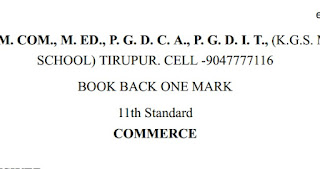 Plus one commerce book back 180 one mark questions with answer key English Medium