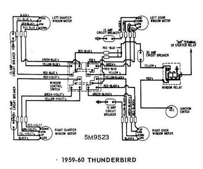 windows wiring diagram for 1959-60 ford thunderbird | all ... 1959 ford regulator wiring