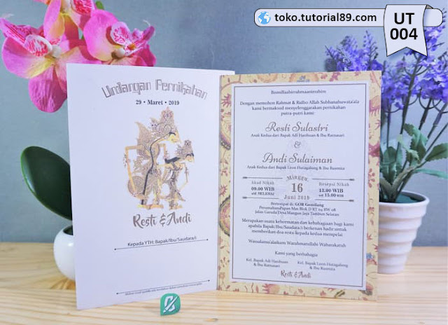 Undangan pernikahan UT004 - Single Hard Cover + Amplop