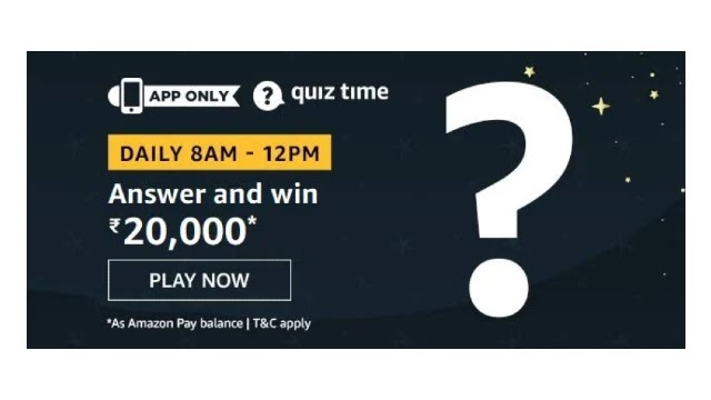 Amazon Quiz Answers For Today 16th April 2020 - Win Rs.20,000 Amazon Pay Balance