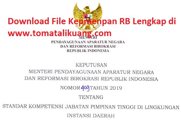 kepmenpan rb ri nomor 409 tahun 2019; standar kompetensi jabatan pimpinan tinggi di instansi daerah; www.tomatalikuang.com