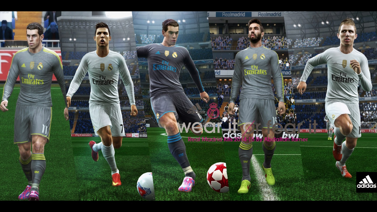 PES 2013 PC  Uniformes Techfit 2015 2016 do Real Madrid com Badge de  Campeão do Mundial 7016b4acd8502