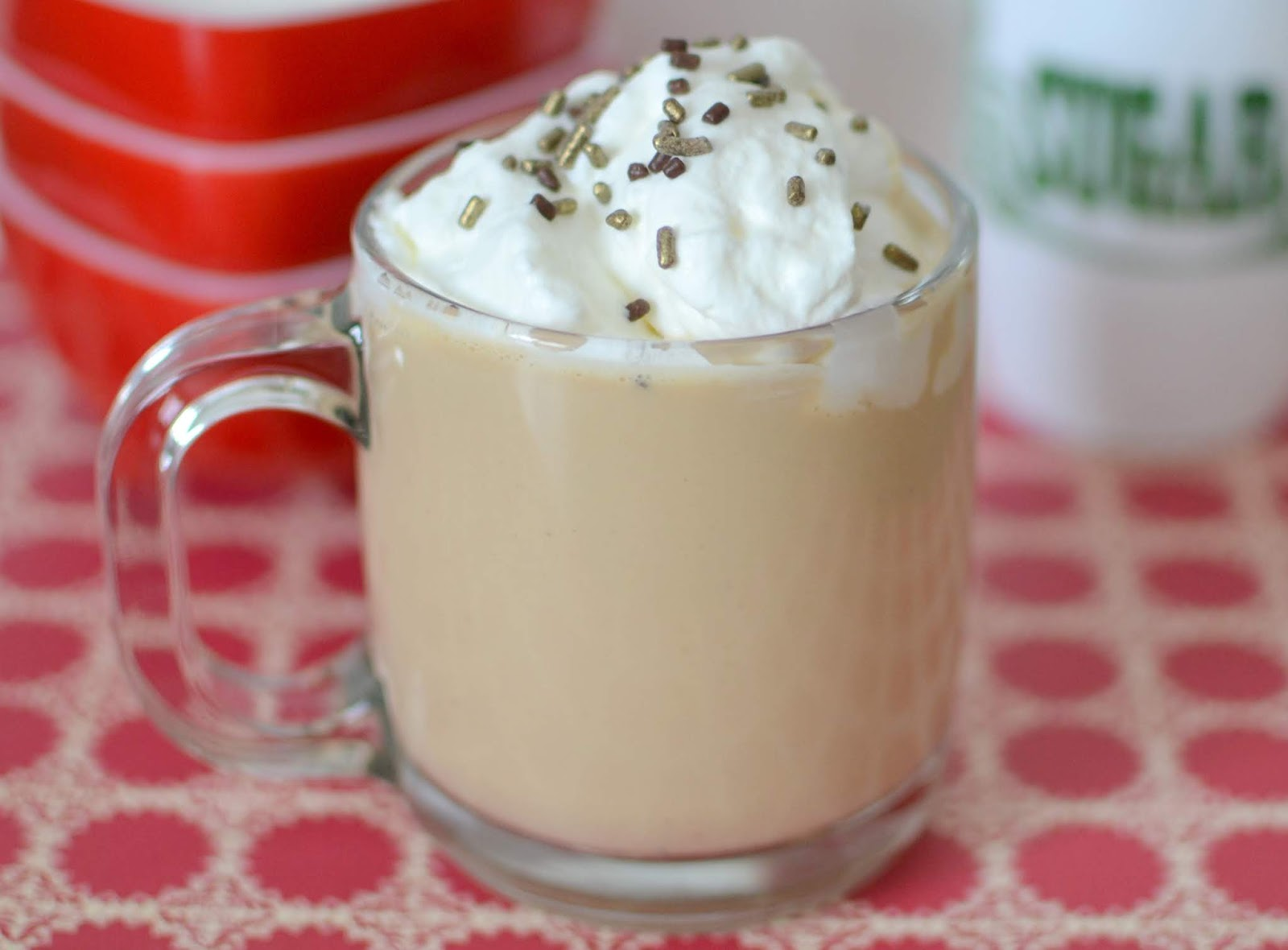 Make your eggnog extra special with some coffee and whipped cream! So perfect for any Christmas celebration or holiday party! Add your favorite liquor for a delicious adult drink!