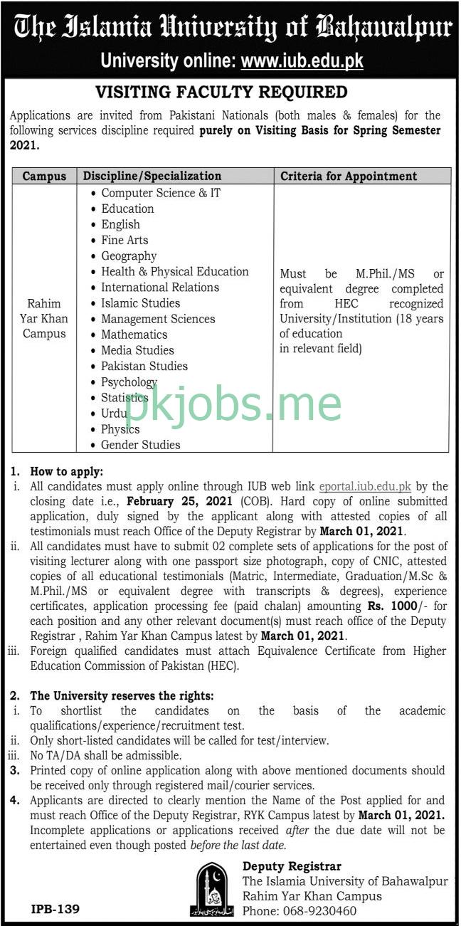 Latest Islamia University of Bahawalpur Posts 2021