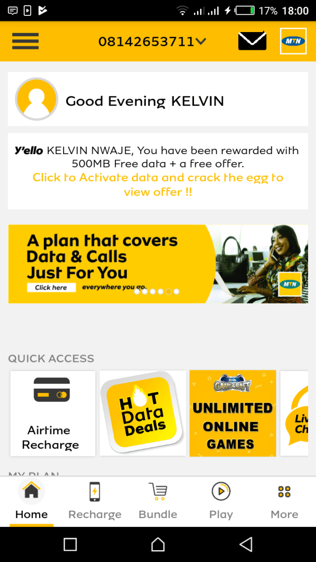 Mtn free 500MB accumulated to more then 30GB still working