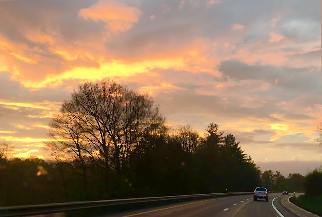 A beautiful sunset and near empty highways in Vermont