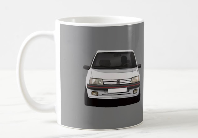 two-image coffee mugs with Peugeot 205 Gti