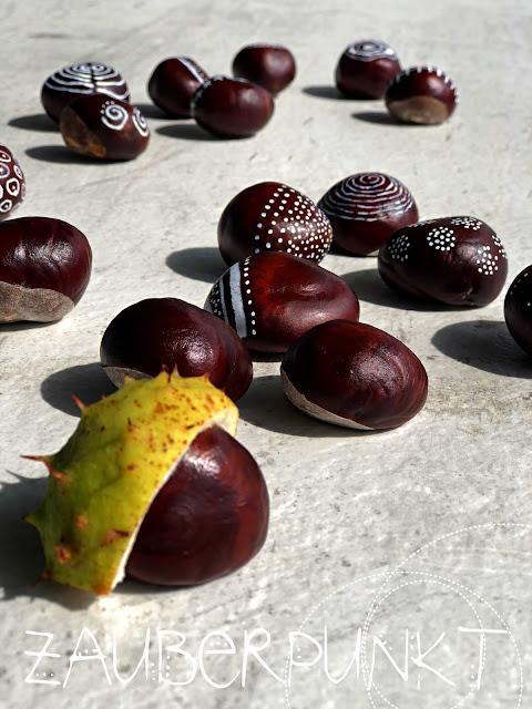 Kastanien-DIY, Kastanie, Herbst, Rosskastanie, Posca, Dekoration, Muster, Doodle