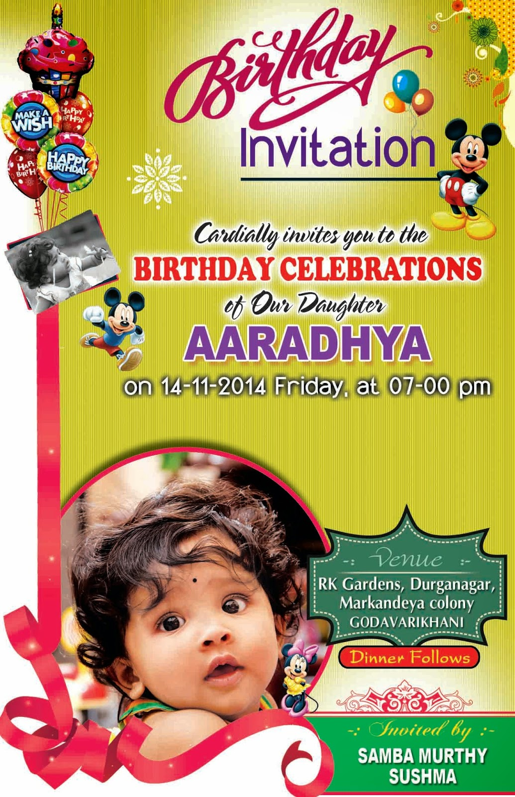 Birthday Invitation Card & Cover Design