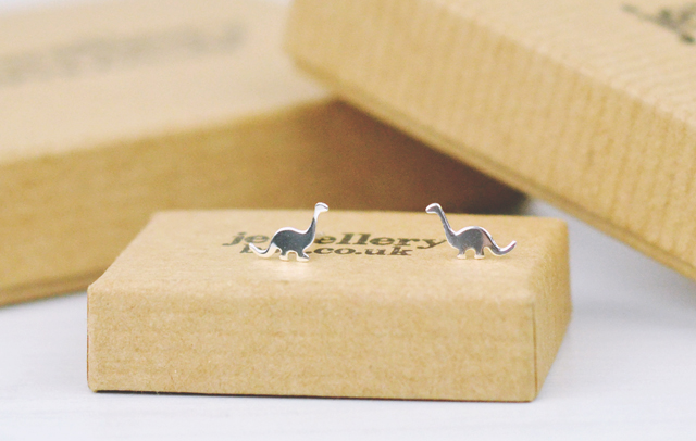 Jewellery Box Diplodocus dinosaur stud earrings