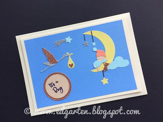 Karte mit Storch und Mond