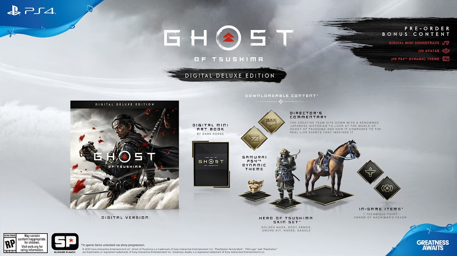 ghost of tsushima digital deluxe edition release date june 26 collector's edition jin sakai open world action-adventure game sucker punch productions sony interactive entertainment playstation 4 pre-order bonus jin avatar digital mini soundtrack ps4 dynamic theme playstation store hero of tsushima skin set charm of hachiman's favor one technique point director's commentary