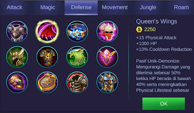 Item Queens Wings adalah item defense