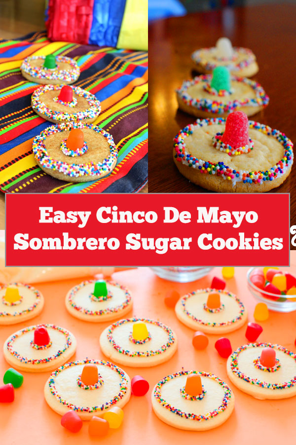 Easy Cinco De Mayo Sombrero Sugar Cookies | So going to try these for my kids on Cinco de Mayo! Sombrero sugar cookies, simple to make it and perfect for Cinco De Mayo! #cincodemayo #partyfood #cincodemayofood #cincodemayorecipe #cookies