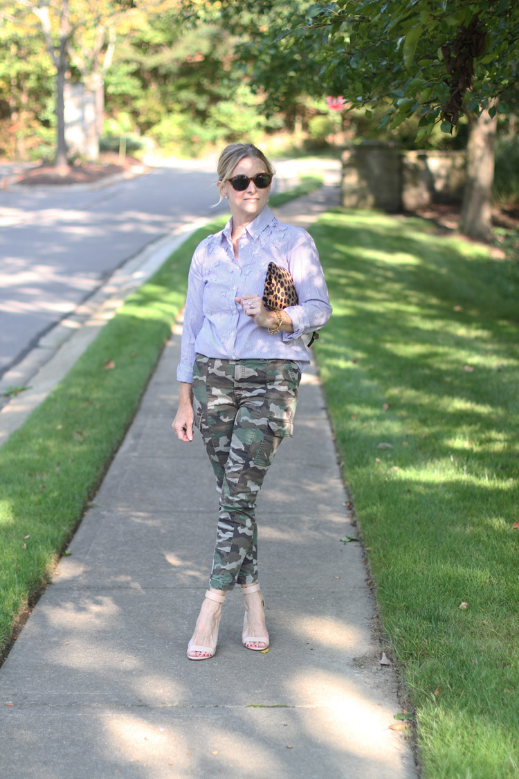 camo print pants with stripe shirt outfit