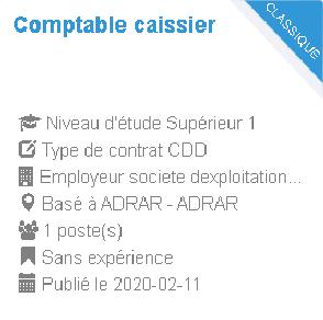مسابقات التوظيف  أدرار  Comptable caissier  Employeur : societe dexploitation des gares routieres dalgerie