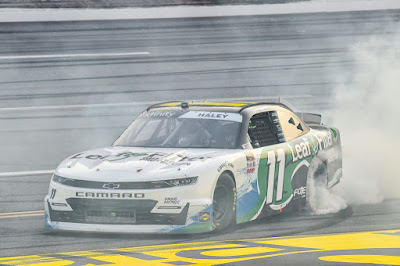 Justin Haley secured his first win in the NASCAR Xfinity Series (NXS) last night at Talladega Superspeedway in the Unhinged 300