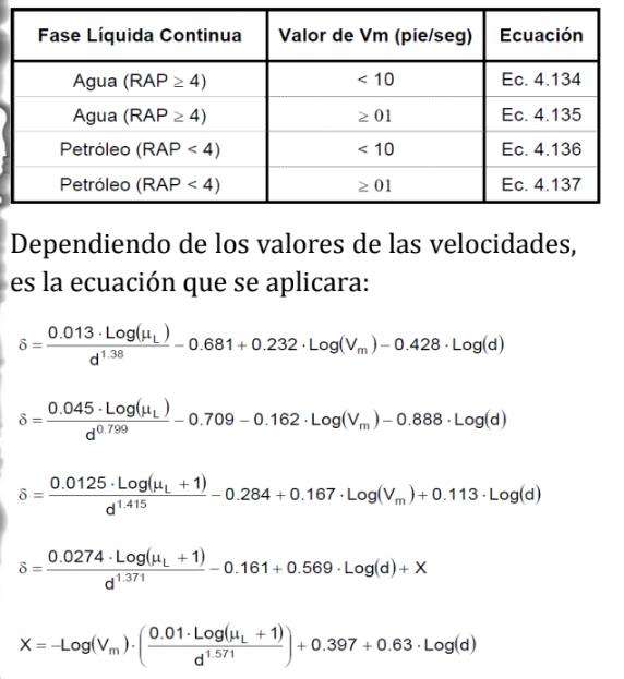 dependiendo de los valores de las velocidades, en la ecuacion se aplicara: